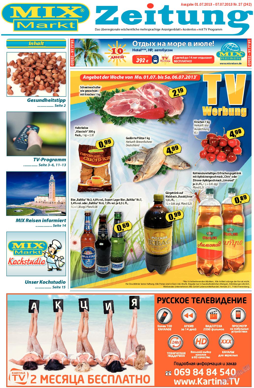 MIX-Markt Zeitung (газета). 2013 год, номер 27, стр. 1