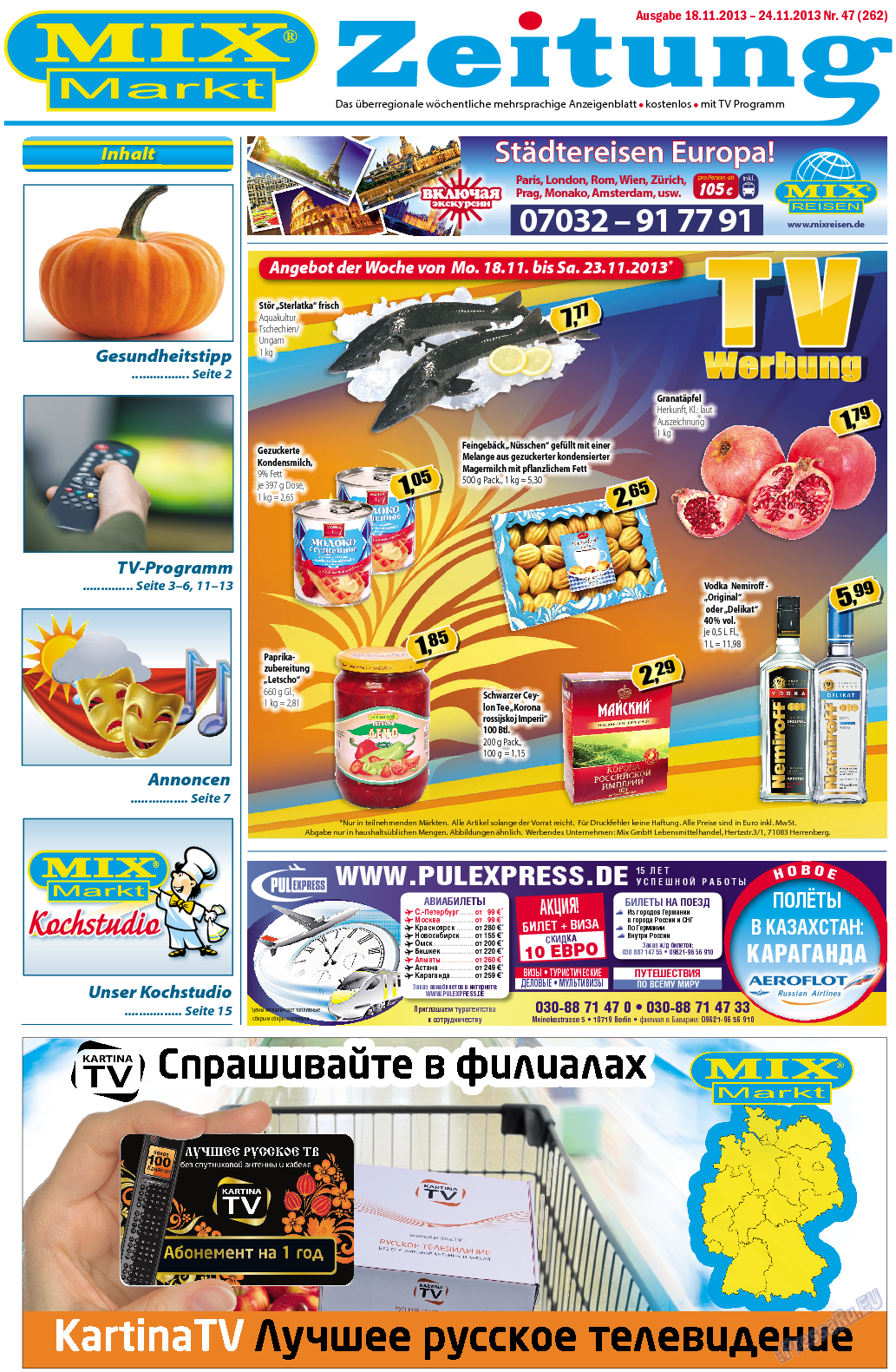 MIX-Markt Zeitung (газета). 2013 год, номер 47, стр. 1