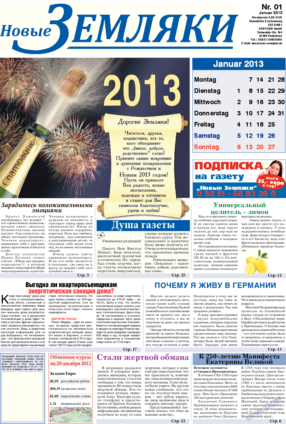 Новые Земляки (газета). 2013 год, номер 1, стр. 1