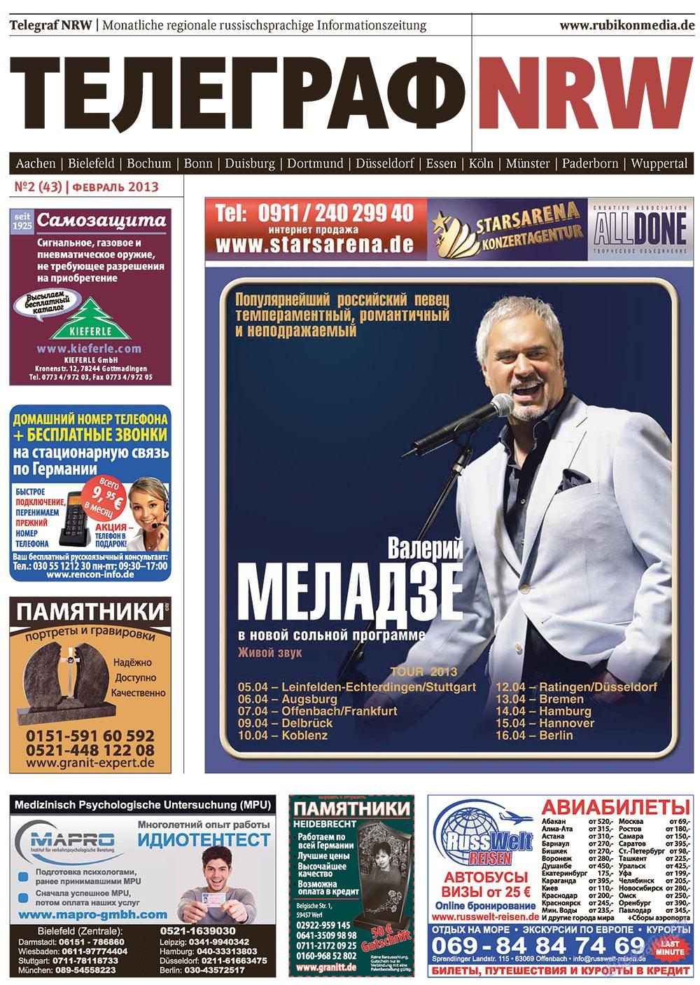 Телеграф NRW (газета). 2013 год, номер 2, стр. 1