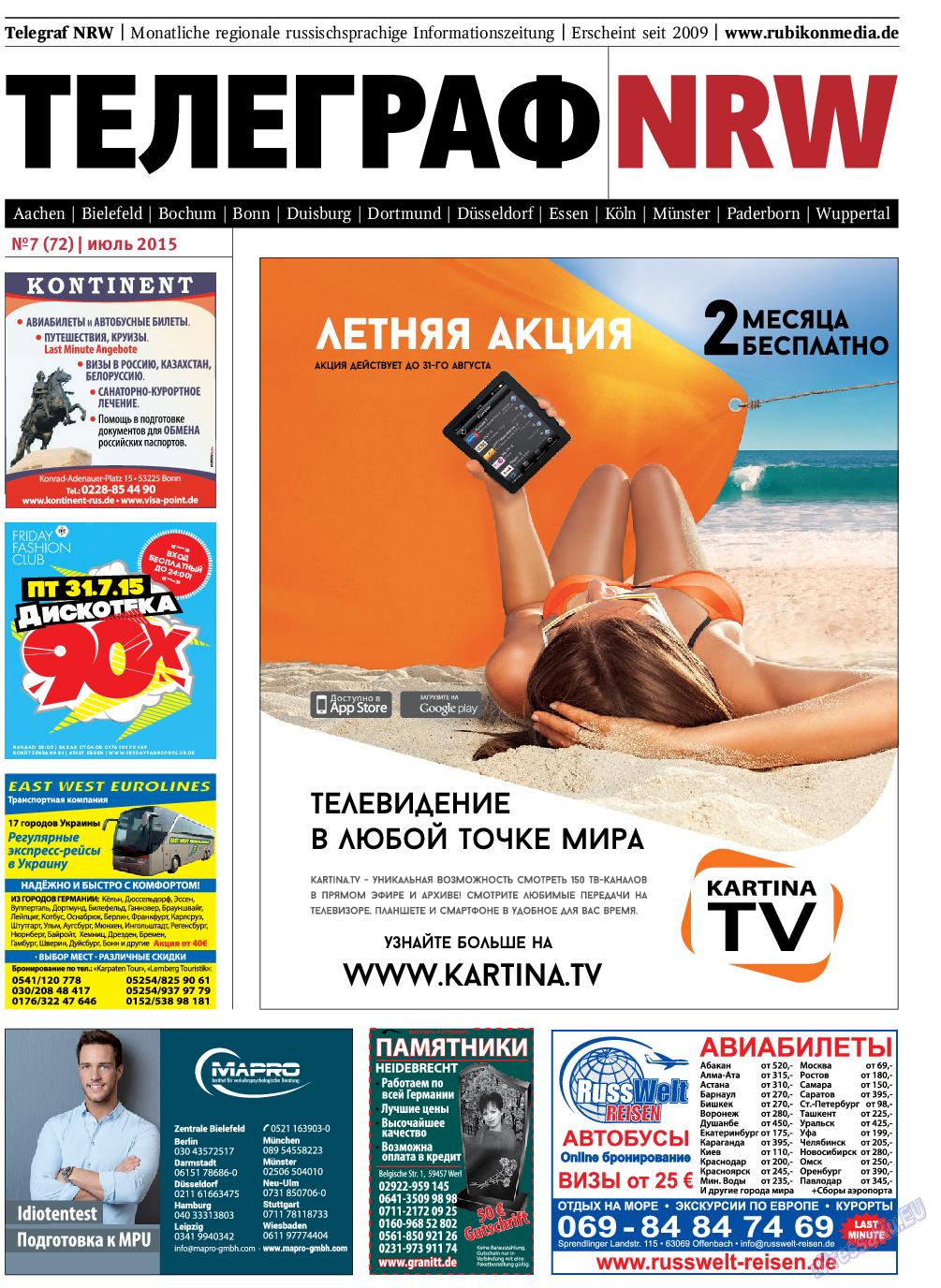 Телеграф NRW (газета). 2015 год, номер 7, стр. 1