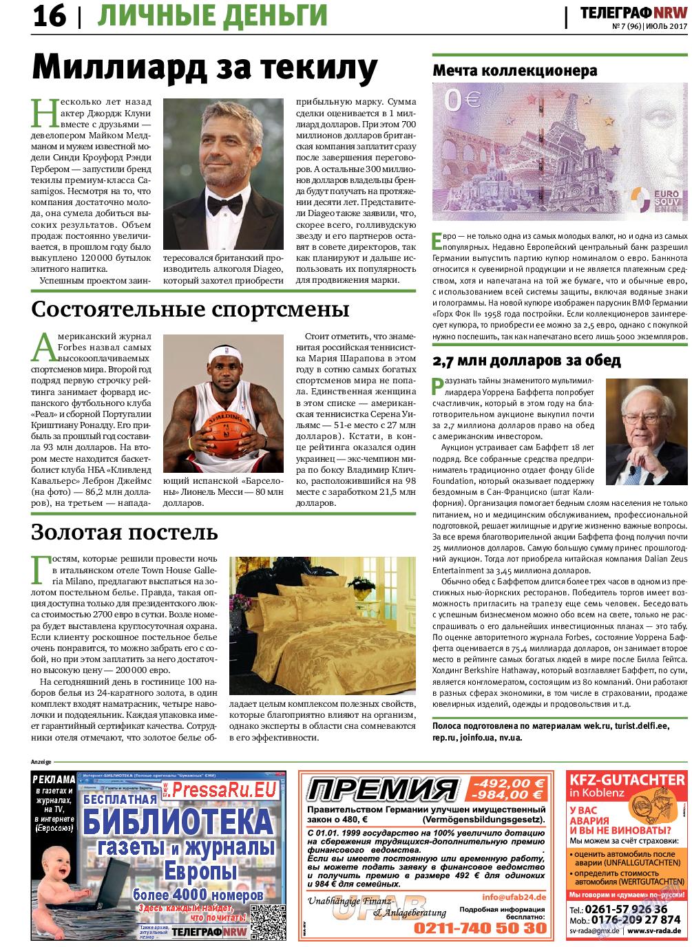 Телеграф NRW (газета). 2017 год, номер 7, стр. 16