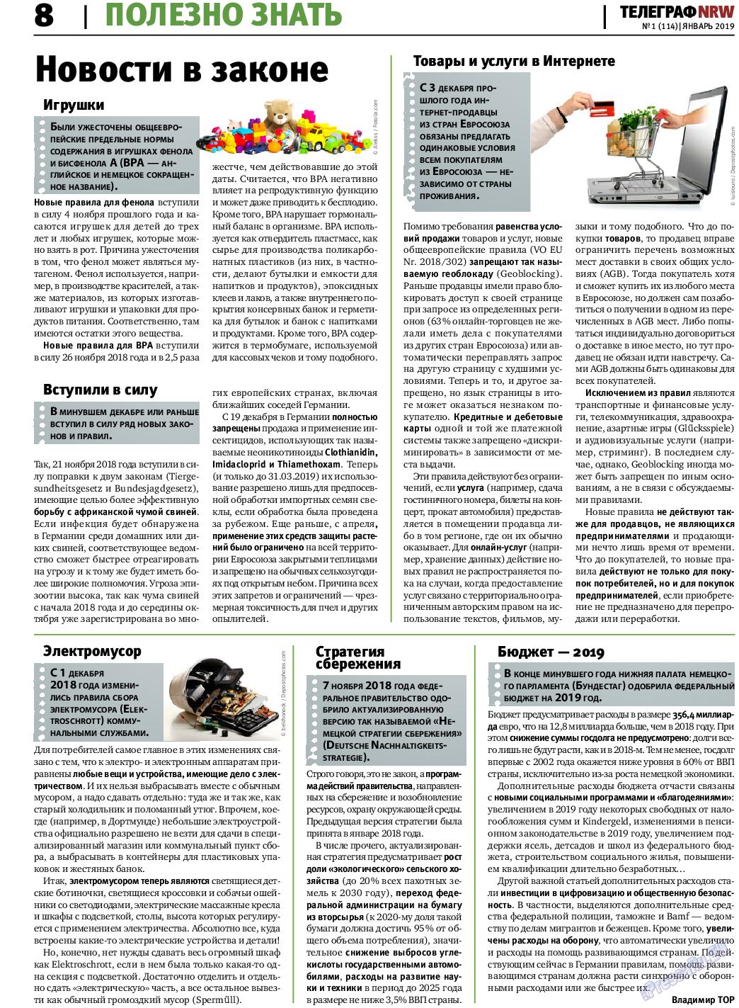 Телеграф NRW (газета). 2019 год, номер 1, стр. 8