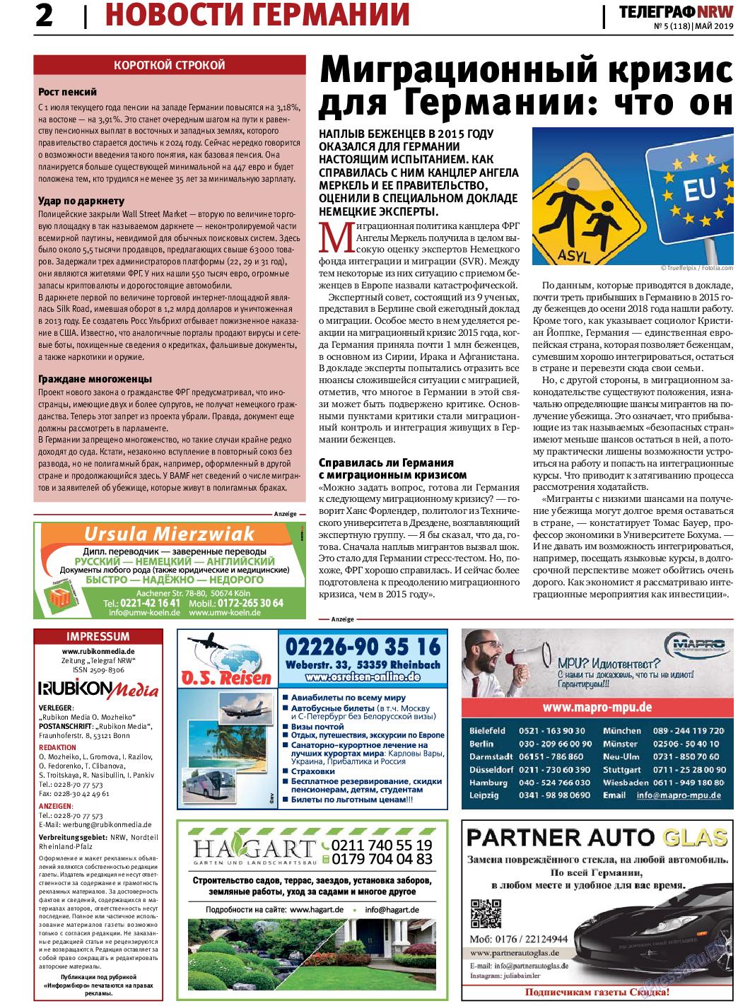 Телеграф NRW (газета). 2019 год, номер 5, стр. 2